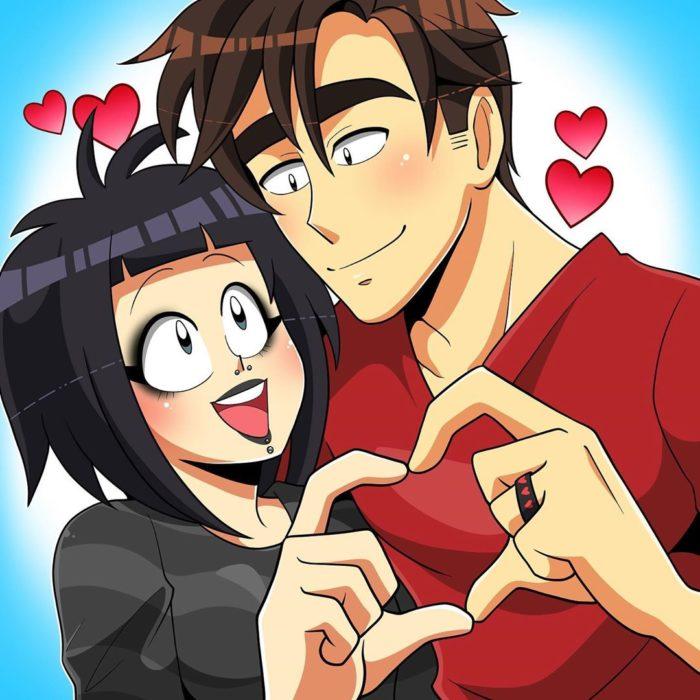 Ilustración de Coraline que la muestra a ella y su pareja demostrando lo mucho que se aman