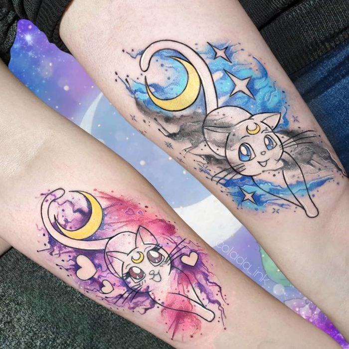 Tatuajes de Luna y Artemis de Sailor Moon