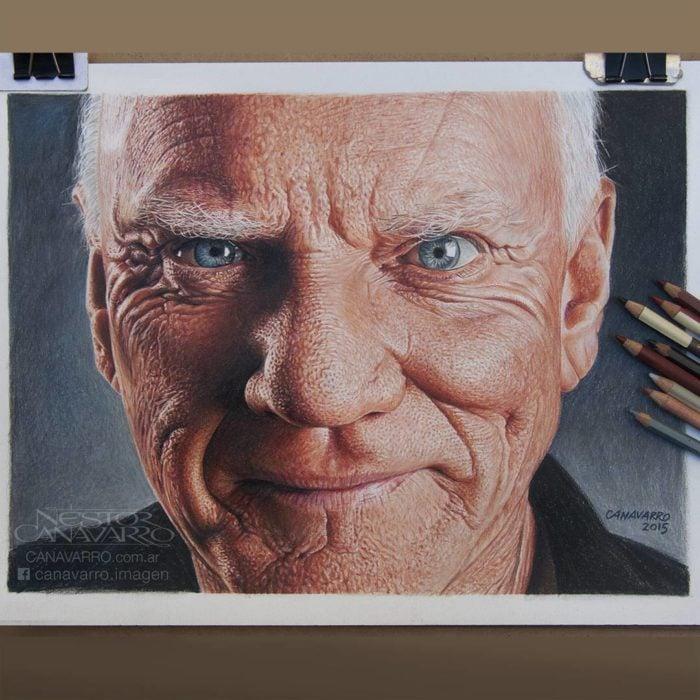 Dibujo creado con colores de Malcolm McDowell