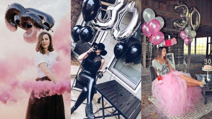 Chicas celebrando sus 30 años en una sesión de fotos casuañ