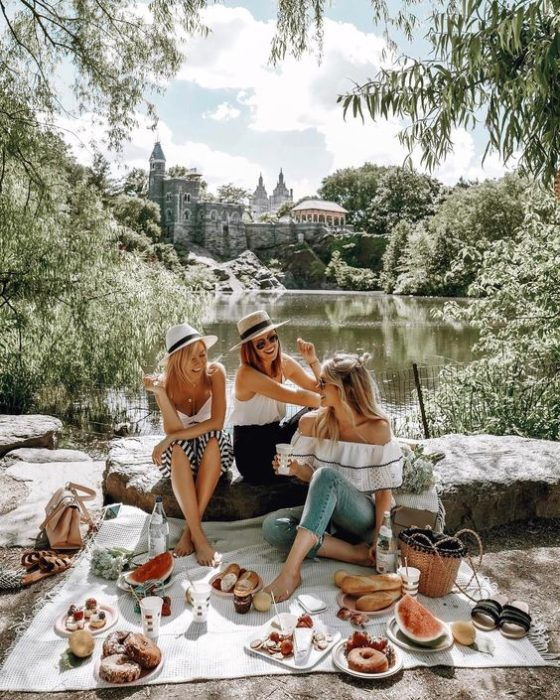 Grupo de amigas de tarde de picnic