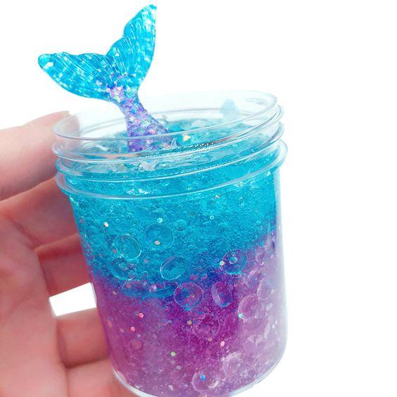 Slime de colores con glitter envasado