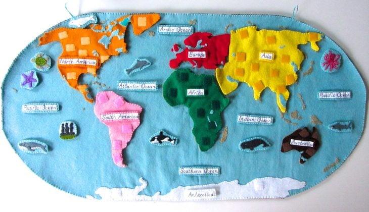 Mapamundi hecho de fieltro, juguete educativo Montessori
