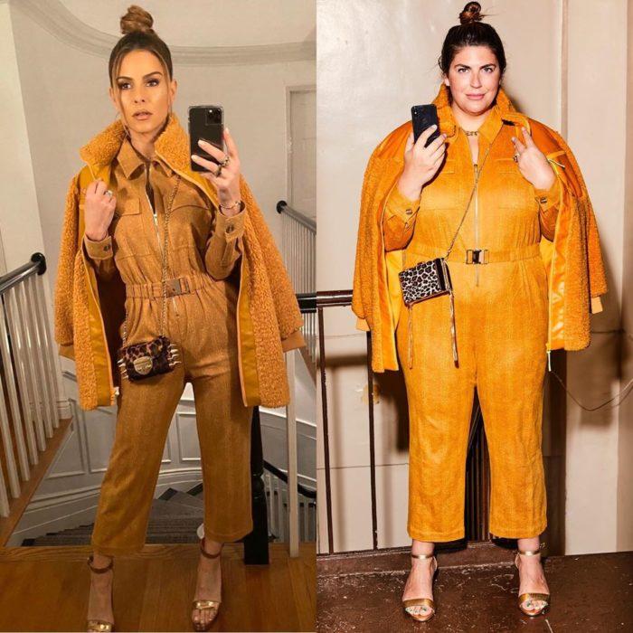 Katie Sturino replicando outfit de Maria Menounos
