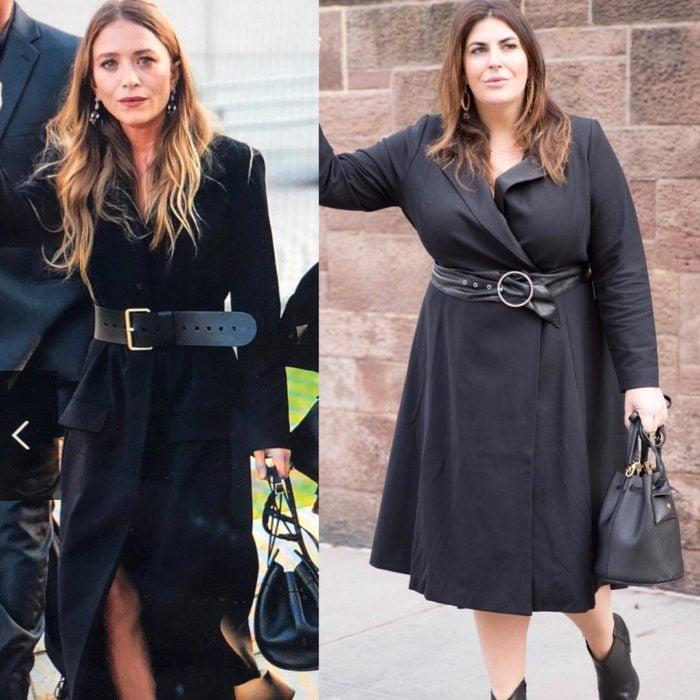 Katie Sturino replicando outfit de Mary Kate Olsen