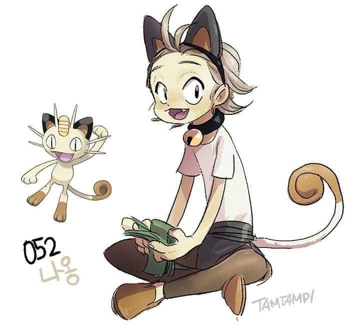 Dibujo de pokémon meowth con su versión en persona