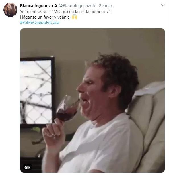 Tuit sobre las reacciones tras ver Milagro en la celda 7