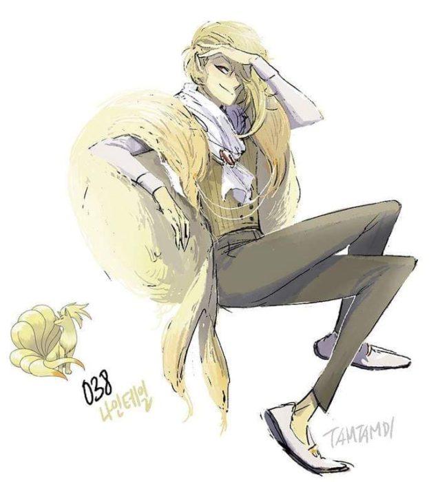 Dibujo de pokémon ninetales con su versión en persona