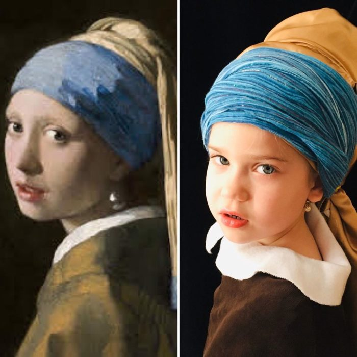 Replica de la pintura La chica de la perla de Johannes Vermeer