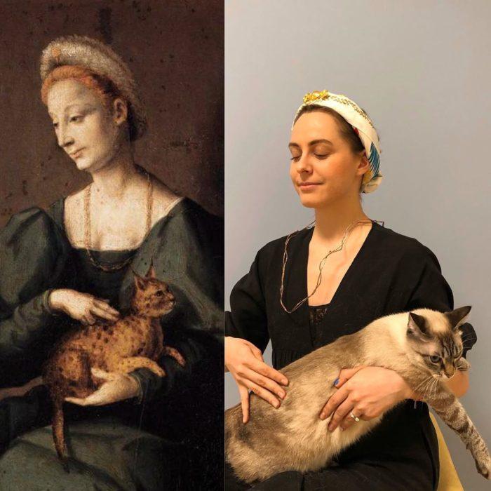 Replica de Mujer con gato, de Francesco Bacchiacca.