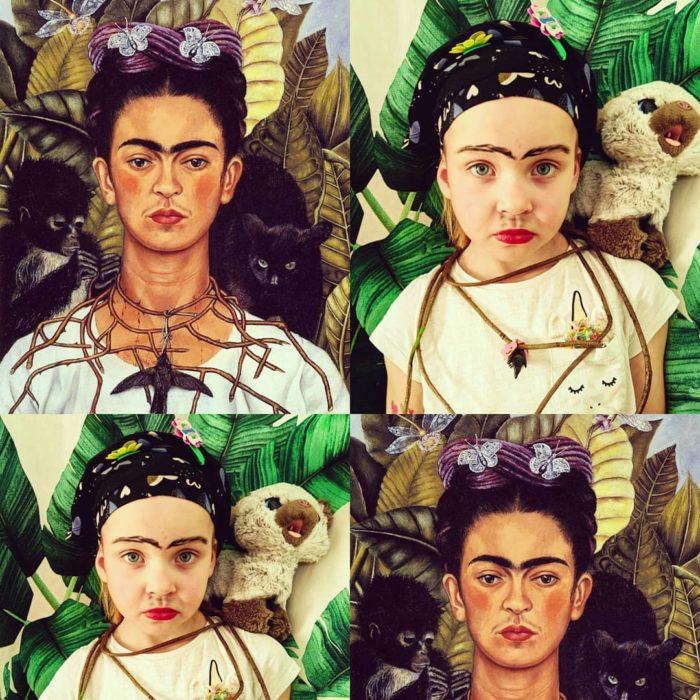 Replicas de Autorretrato con collar de espinas y colibrí de Frida Kahlo