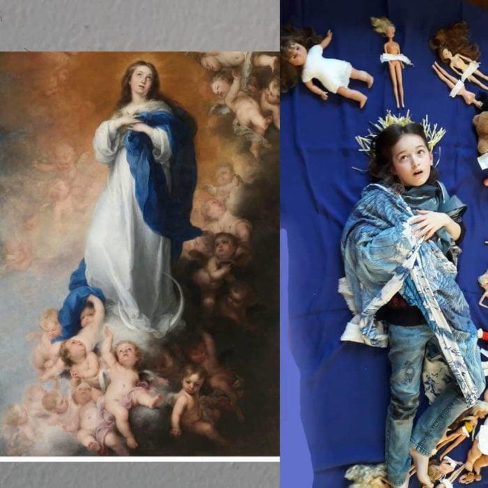 Replica con muñecas barbies de La Inmaculada Concepción de los Venerables de Murillo.