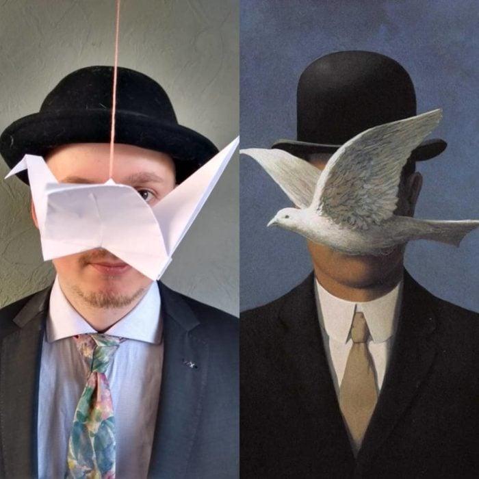 Replica de la pintura Man In The Bowler Hat de René Magritte.