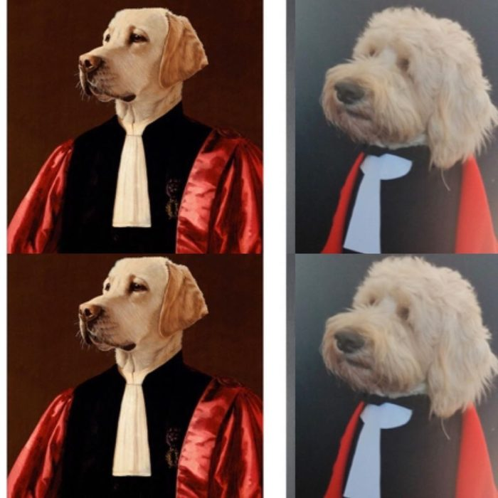 Replica de The Advocate, de Thierry Poncelet con un perrito