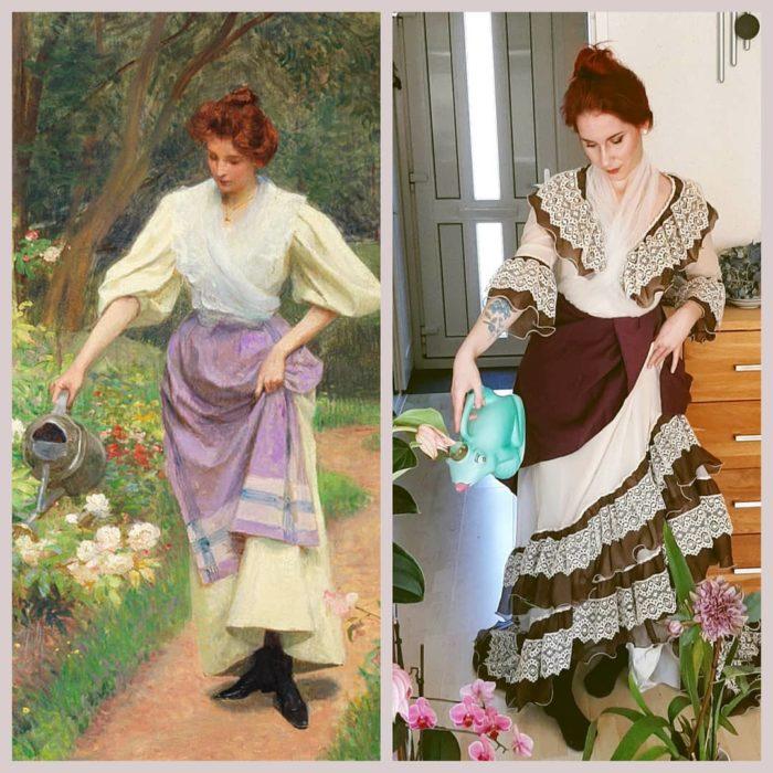 Replica de la pintura Watering The Garden, de Victor Gabriel Gilbert