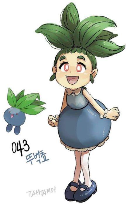 Dibujo de pokémon oddish con su versión en persona