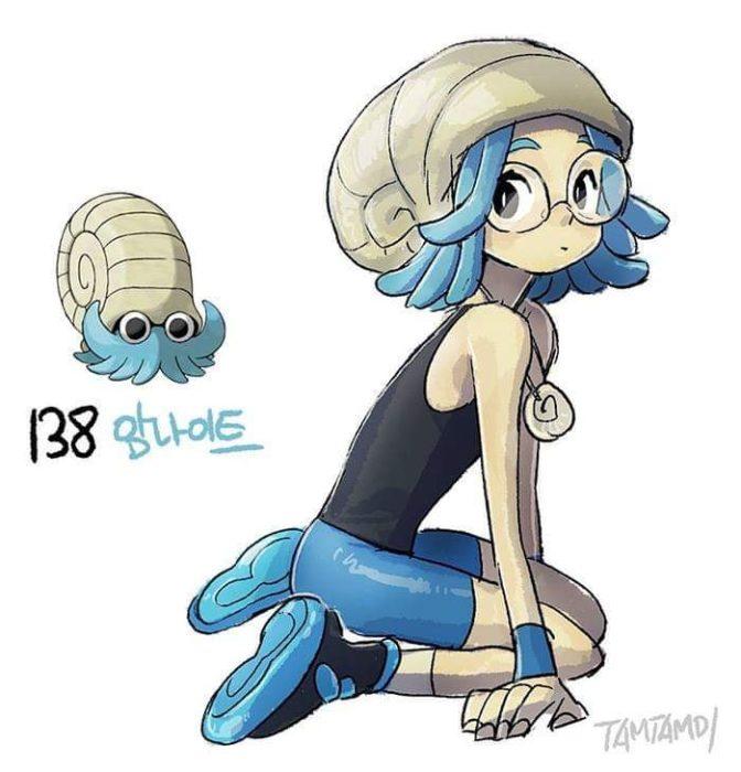 Dibujo de pokémon omanyte con su versión en persona