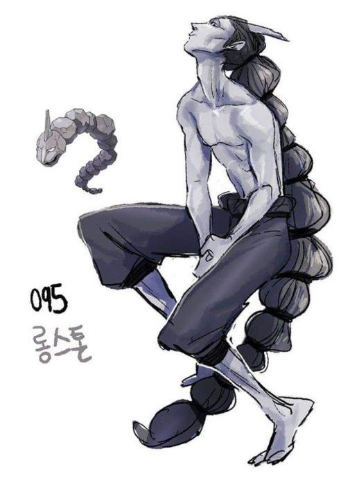 Dibujo de pokémon onix con su versión en persona