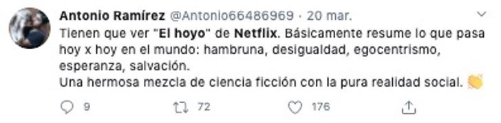 Comentarios en redes sociales sobre la nueva película de Netflix, El Hoyo