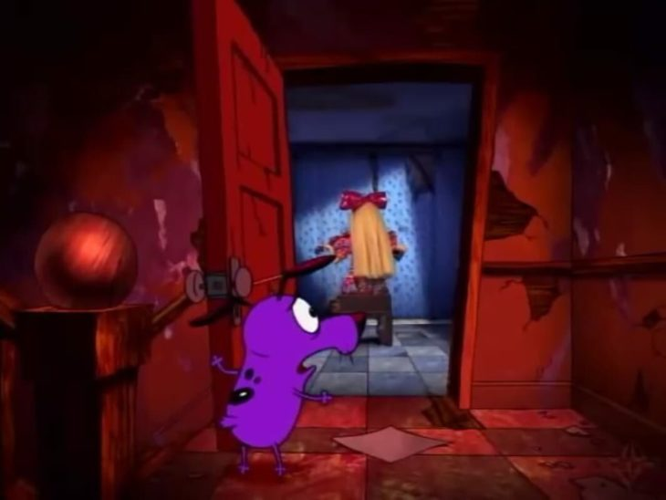 Escena de Coraje, el perro cobarde en el que aparece una niña con un violín