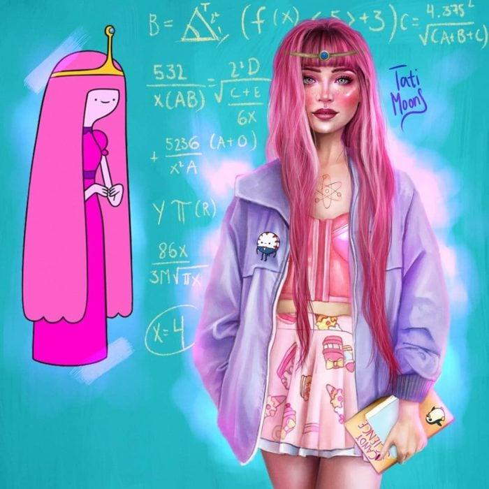 Ilustración de la Princesa Bubblegum luciendo como adolescente