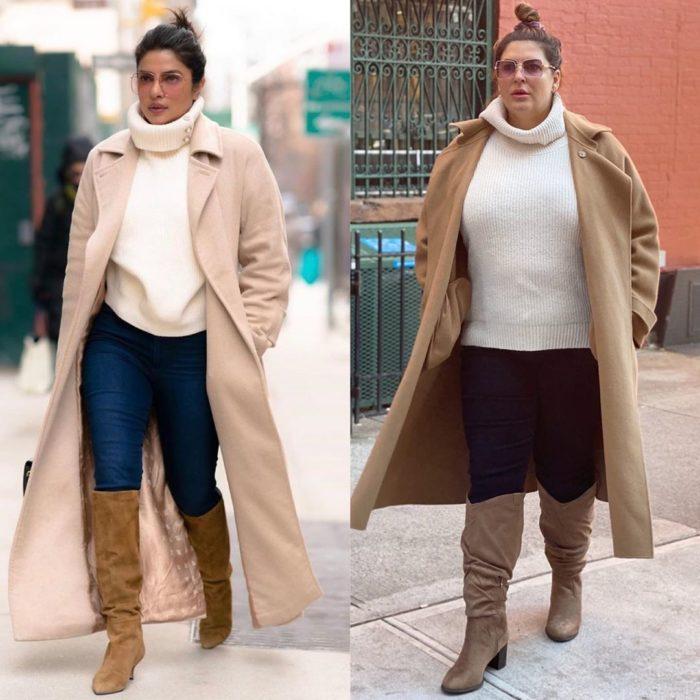 Katie Sturino replicando outfit de Priyanka Chopra