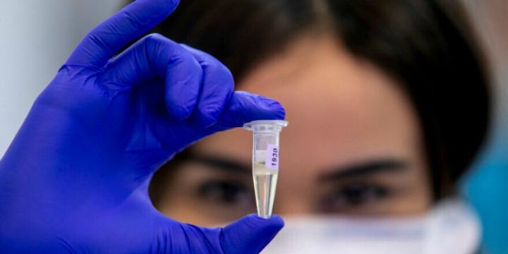 Mujer médico analizando una prueba viral