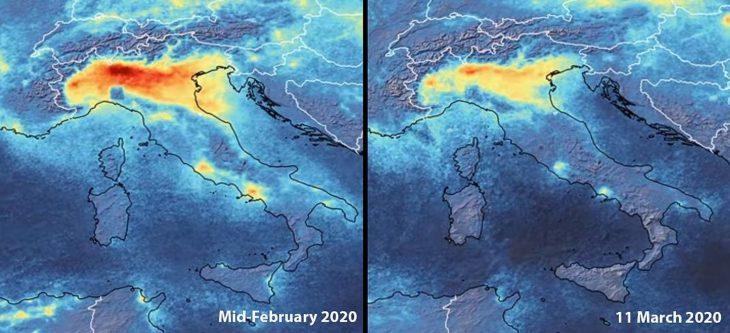 Sátelite muestra reducción de contaminación en Italia antes y después de la contingencia ambiental del Covid-19