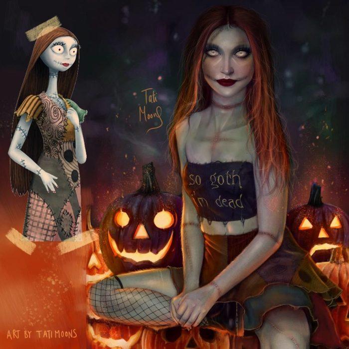 Ilustración de Sally como si fuera adolescente