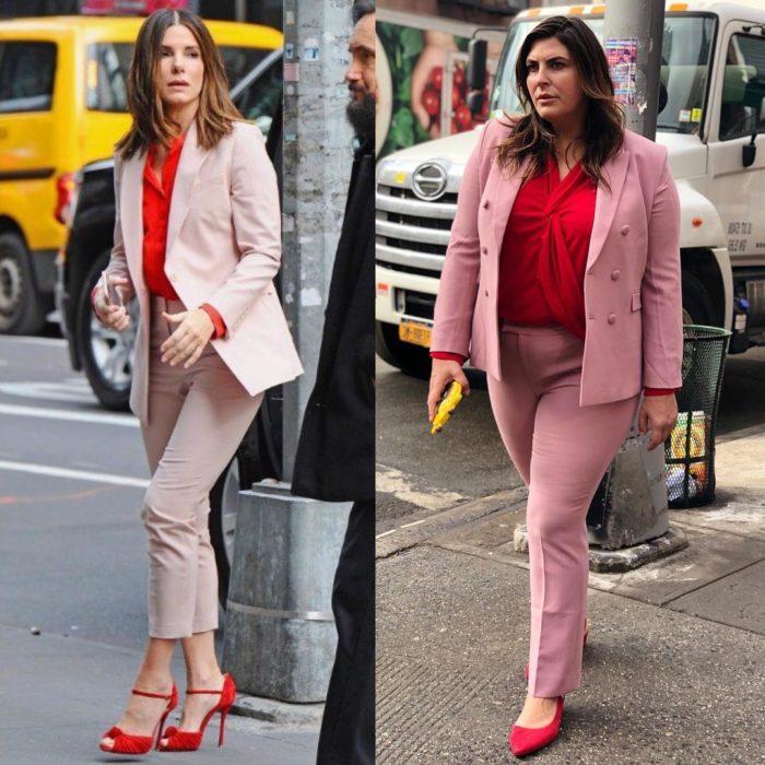 Katie Sturino replicando outfit de Sandra Bullock
