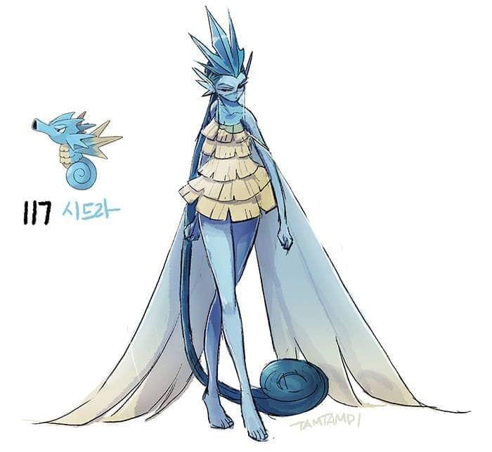 Dibujo de pokémon seadra con su versión en persona