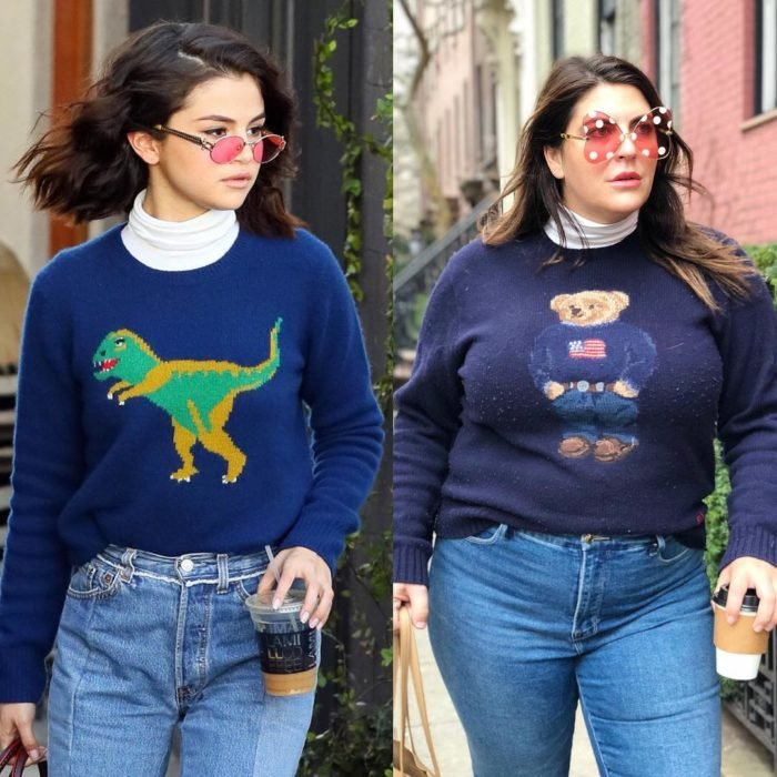 Katie Sturino replicando outfit de Selena Gomez