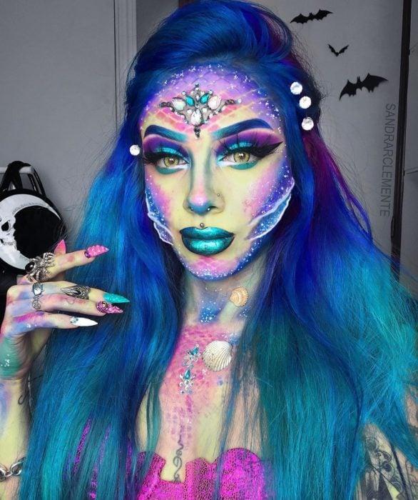 Recreación de maquillaje de Sirena