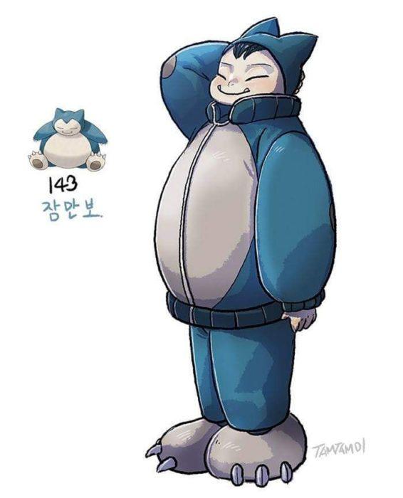 Dibujo de pokémon snorlax con su versión en persona
