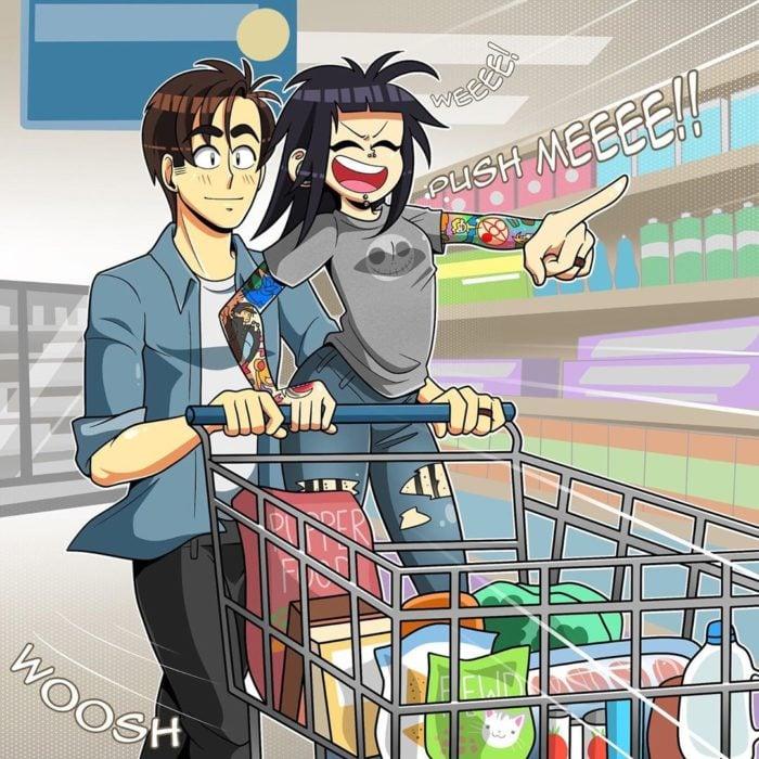 Ilustración de Coraline que la muestra a ella y su pareja cuando van al supermercado y se divierten