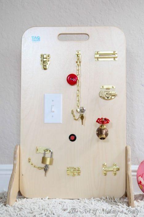 Tablero de cerraduras, juguete educativo Montessori