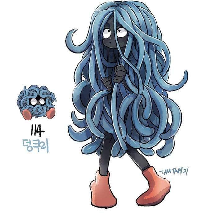 Dibujo de pokémon tangela con su versión en persona