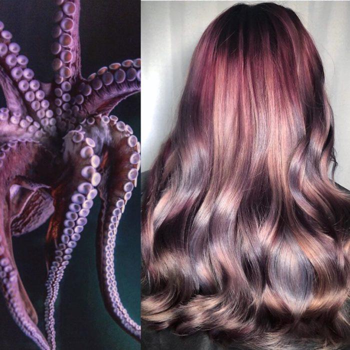 Ursula Goff, estilista crea tintes basados en naturaleza y obras de arte; pulpo, cabello morado, lila y castaño