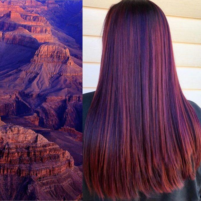 Ursula Goff, estilista crea tintes basados en naturaleza y obras de arte; valle rocoso, cabello largo y lacio de color morado