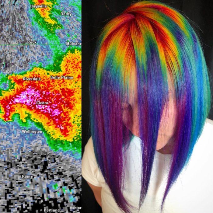 Ursula Goff, estilista crea tintes basados en naturaleza y obras de arte; cabello corto y lacio, rojo, anaranjado, amarillo, verde, azul y morado
