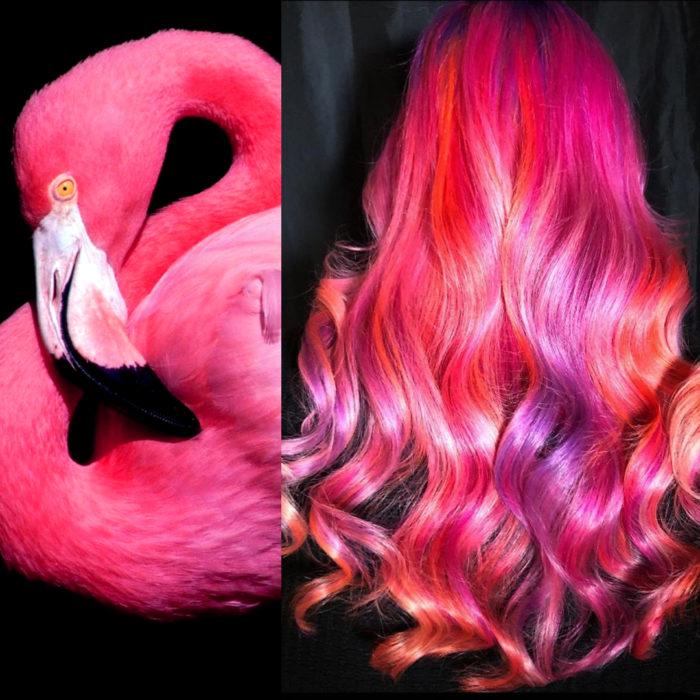 Ursula Goff, estilista crea tintes basados en naturaleza y obras de arte; flamenco, flamingo, cabello largo ondulado de color rosa y magenta
