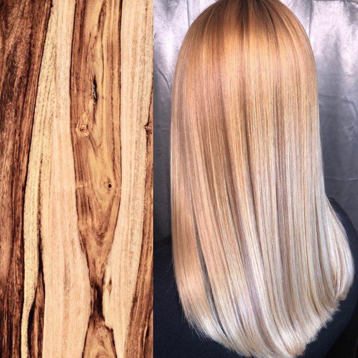 Ursula Goff, estilista crea tintes basados en naturaleza y obras de arte; madera, leña, cabello largo y lacio de color castaño y rubio