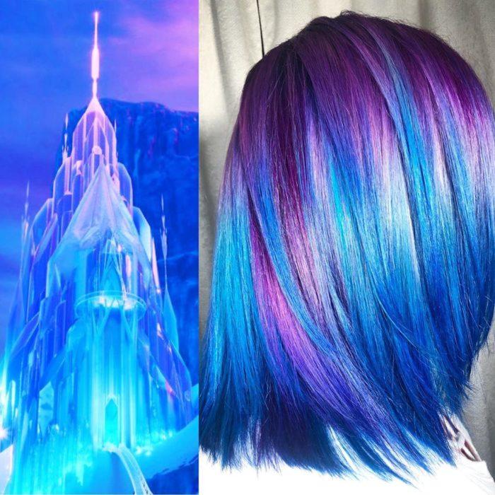 Ursula Goff, estilista crea tintes basados en naturaleza y obras de arte; Castillo de Elsa de Frozen, cabello corto y lacio de color morado y azul