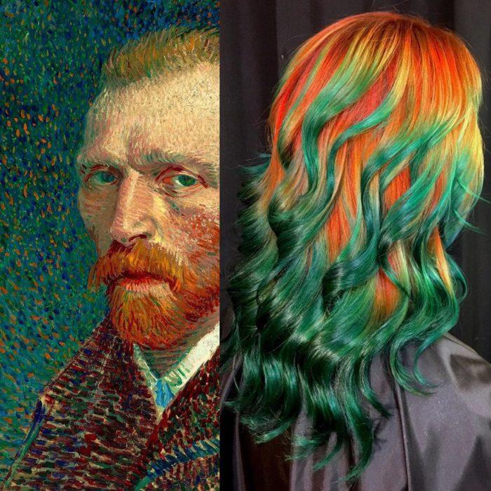 Ursula Goff, estilista crea tintes basados en naturaleza y obras de arte; pintura de Vincent van Gogh, cabello largo y ondulado, amarillo, anaranjado, verde esmeralda