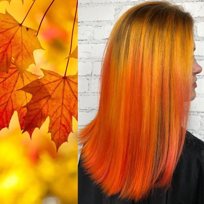 Ursula Goff, estilista crea tintes basados en naturaleza y obras de arte; hojas en otoño, cabello lacio y largo, anaranjado y amarillo