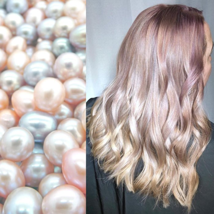 Ursula Goff, estilista crea tintes basados en naturaleza y obras de arte; perlas rosas y azules, cabello ondulado color rosa, lilas y rubio