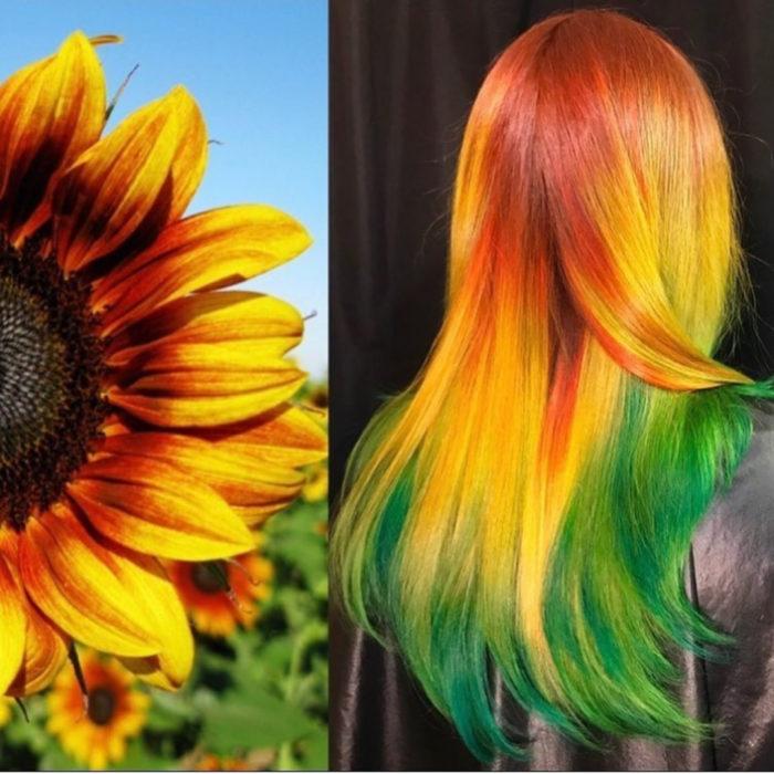 Ursula Goff, estilista crea tintes basados en naturaleza y obras de arte; girasoles, cabello largo y lacio color anaranjado, amarillo y verde
