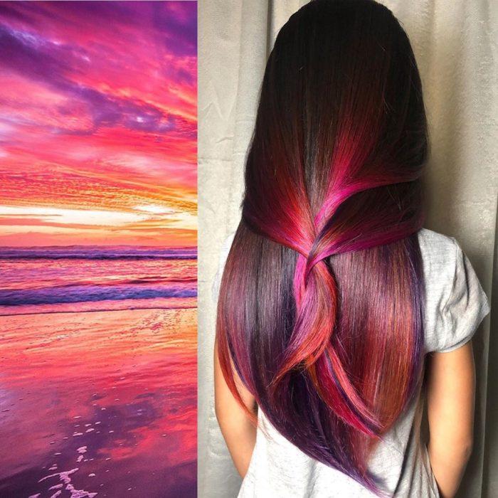 Ursula Goff, estilista crea tintes basados en naturaleza y obras de arte; atardecer de colores, cabello rosa, anaranjado, morado, castaño y rojo
