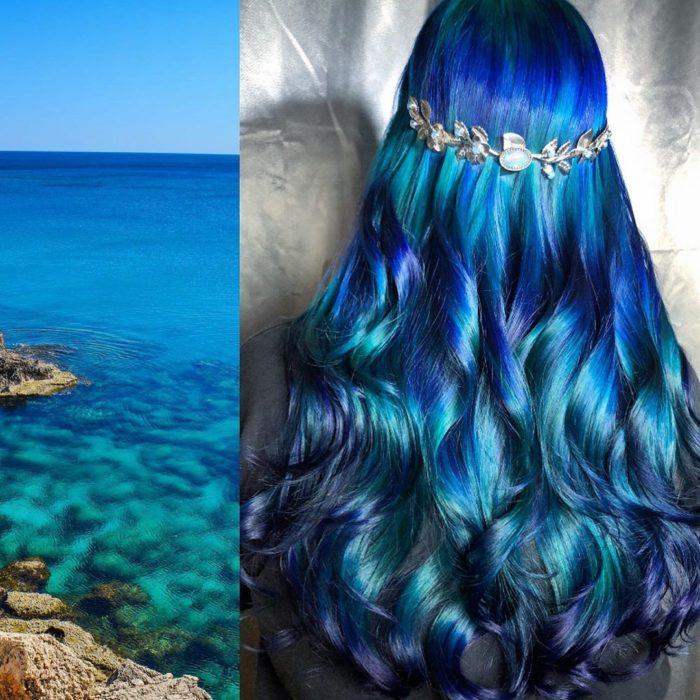 Ursula Goff, estilista crea tintes basados en naturaleza y obras de arte; mar y rocas, cabello morado, azul rey y claro