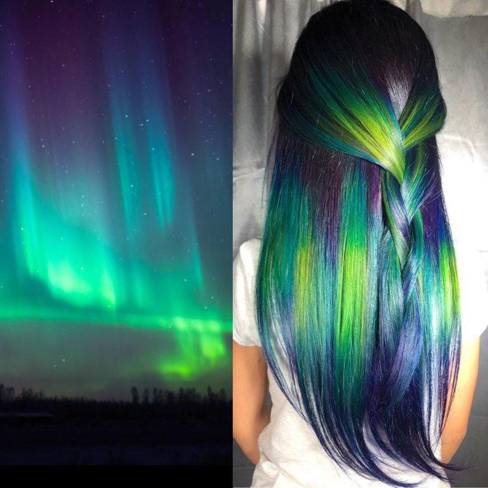 Ursula Goff, estilista crea tintes basados en naturaleza y obras de arte; auroras boreales, cabello verde, azul, morado